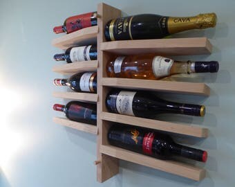 Hand made wooden wall mounted wine bottle rack kitchen storage unit ideal gift