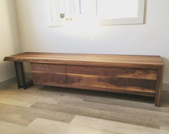 8/4 walnut bench with 3 drawers