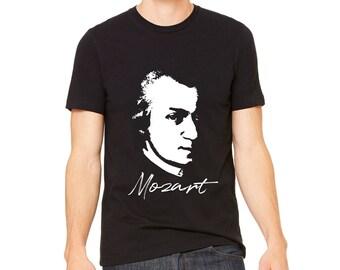 MEN'S SHIRT Wolfgang Amadeus Mozart T-Shirt Mozart Portrait Shirt   Classical Composer T Shirt   Classical Music Gift   Composer Gift Shirt