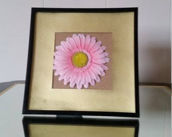 Pink Flower Picture Frame with Gold Rim