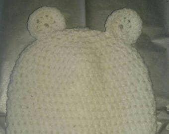 Handmade newborn crochet bear hat