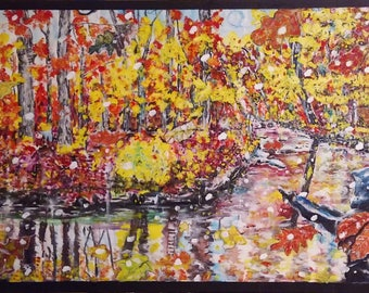 Large handmade Acrylic painting Fall landscape scene of Little Rocky Run in Centreville, Virginia.