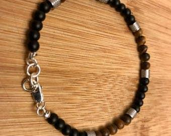4 mm Gemstone & sterling silver beads bracelet