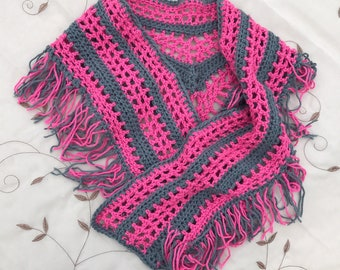 Pink and gray shawlette, scarf, sarong