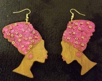 Pink with Gold dots Nefertiti head earrings