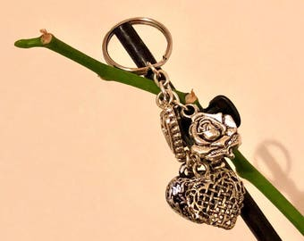 Heart and rose keycharm/keyring