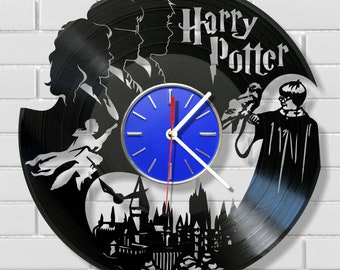 Harry Potter wall clock made out of vintage vinyl record