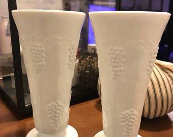 Vintage Colony Harvest Milk Glass Flower Vase, Set of 2