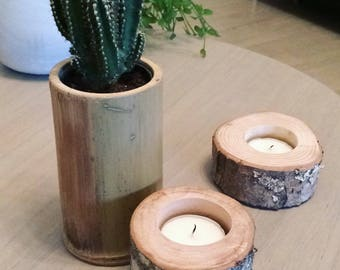 """Log"" wooden candle holders"