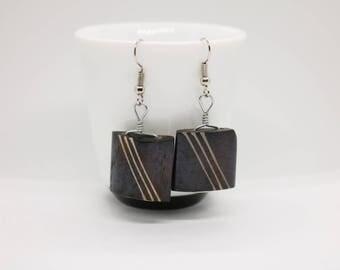 Batik / Horn / Bone Earrings.