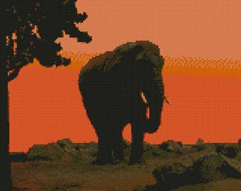 "Elephant At Sunset Counted Cross Stitch Kit 12"" x 9.25"""