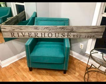 Rustic Family Riverhouse sign on repurposed Pallet wood