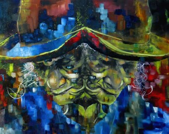 Oil on canvas painting. Colorful, figurative and large painting. Splash painting and abstract portrait of an native woman from the Andes.
