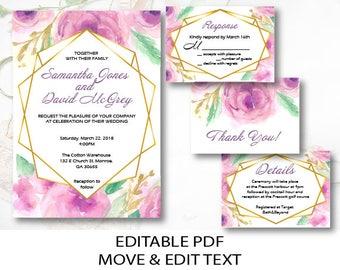 Peony wedding invite template Gold wedding invitation printable Watercolor floral wedding invite set Geometric wedding invitation DIGITAL