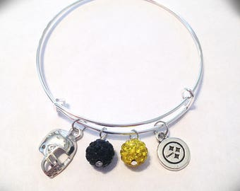 Pittsburgh Steelers Themed Expandable Bangle Bracelet with Black & Yellow Swarovski Crystal Pave Accent and Football Helmet / Steelers Charm