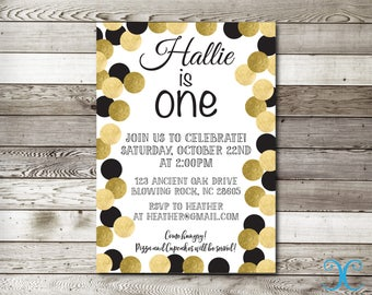 Gold Birthday Invitation, Birthday Invitation First Birthday Invitation, Girl Birthday Invitation, Gold Invite, Polka Dots Invitation, 002
