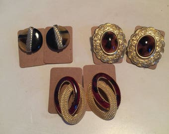 Tortoise Shell Vintage Gold Earrings - Lot of 3
