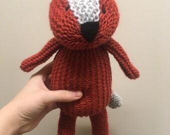Hand knit fox