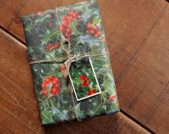 Holly and Berries Eco Wrapping Paper and Gift Tag