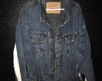 Denim jacket with fringe