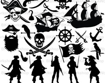 Pirate svg - Pirate  vector - Pirate bundle - Pirate clipart - Pirate digital clipart for Design or more, files download svg, png, dxf