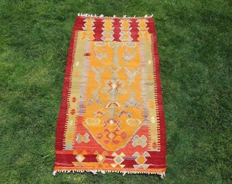 Turkish rug,kilim rug,area rug,vintage kilim rug orange,colorful rug,rug,kilim,5.1''2.8''feet,157x85cm.