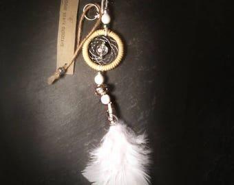Beige Angel Dream Catcher Key Ring Charm