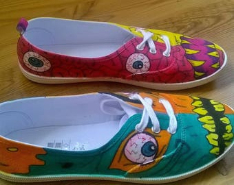 "Beautiful hand-painted shoes sneakers motif ""monster"" Gr. 38-Unique"
