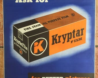 Original 1940's KRYPTAR Camera FILM Promotional POSTER 22 x 28 Photographry 2