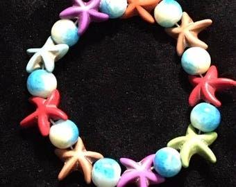 starfish and glass bead bracelet