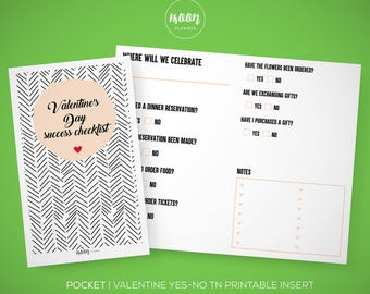 Pocket Size | Valentine's Day Success Checklist, Yes, No, TN Printable Insert Planner - Traveler's Notebook, Foxy Fix 2 - INSTANT DOWNLOAD!
