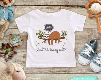 Hello Want to hang out? - cute sloth - Baby bodysuit Toddler youth Shirt - baby shower gift surprise baby reveal pregnancy birth