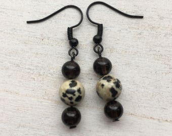 Dalmatian and Black Beaded Drop Earrings