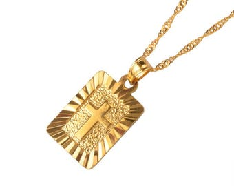 Cross Pendant 16K Gold Plated Necklace - Gold Chain Necklace - Gold Necklace - Cross Necklace - Gifts for Her - Religious Necklace