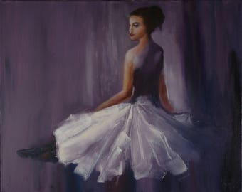 Ballet Dancer Oil Painting Ballerina in white dress Wall Decor great gift