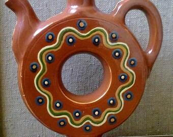 Vintage clay jug Clay decorative decanter