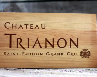French wine crate front SAINT-EMILION. Wine of Bordeaux. Vin de Bordeaux. Grands vins de Bordeaux. French wine panel. MEDOC. Wine decor