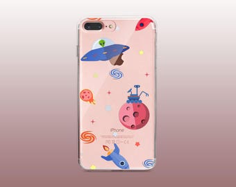 Cute Space Clear TPU Phone Case for iPhone 8- iPhone 8 Plus - iPhone X - iPhone 7 Plus-iPhone 7-iPhone 6-iPhone 6S-Samsung S8
