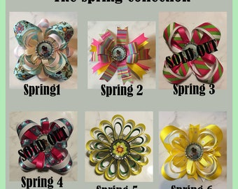 Custom Hair Bow, Choose 1 of 4 Personalized Hair Bow Accessories, Photo Barrette, Spring Colors Hair Bow, Flower Hair Bow, Hair Accessory