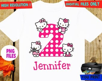 Hello Kitty, Iron On Transfer, Hello Kitty DIY Iron On Transfer, Hello Kitty Girl Birthday Shirt DIY. Digital Files, Personalize, PNG Files.