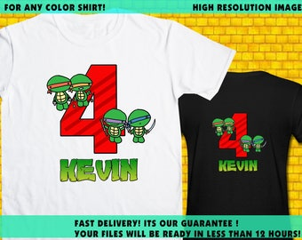 TMTN / Iron On Transfer / TMNT Birthday Shirt Transfer Design DIY / High Resolution / For Any Color T Shirt / 12 Hours Turnaround Time
