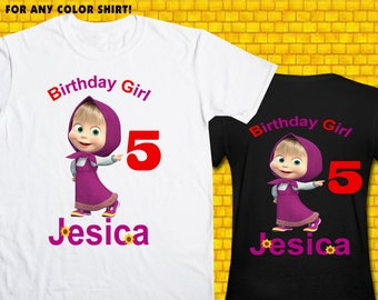 Masha / Iron On Transfer / Girl Birthday Shirt Design / DIY Shirt / High Resolution / For Any Color T Shirt / 12 Hours Turnaround Time