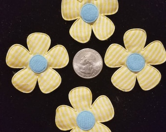 Cute Padded Applique Yellow Gingham Large Flower 10 Pieces for sewing/doll making/hairbow/scrapbooking/crafts, etc.
