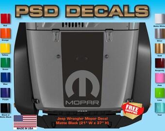 Jeep Decals Jeep Wrangler Blackout Mopar Vinyl Hood Decal H-112