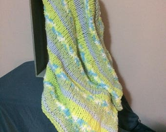 Beautiful Bright Hand-Knit Chenille Baby Blanket