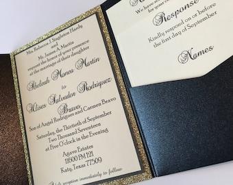 Pocket Wedding Invitations with glitter