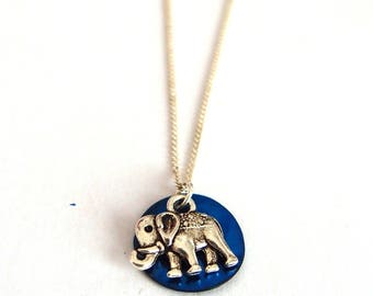 Elephant sequin Blue Pearl Necklace