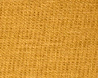 Mustard Solid Linen Fabric / Textiles / Fabric by the Yard