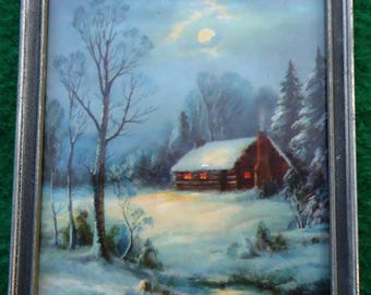 Vintage 1930s WM Thompson print - Winter Moonlight