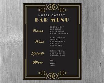 Great Gatsby Themed Bar Menu for wedding/parties